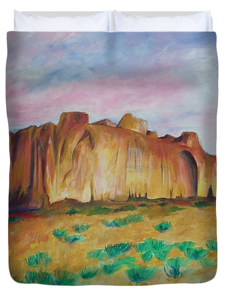 Duvet Cover featuring the painting Inscription Rock  by Eric  Schiabor
