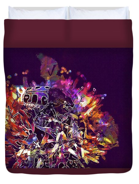 Duvet Cover featuring the digital art Insect Bug Bee Beetle  by PixBreak Art