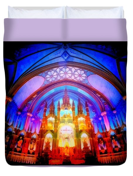 Inside A Cathedral Dark Duvet Cover by Mario Carini