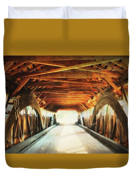 Duvet Cover featuring the photograph Inside A Covered Bridge by Robin Regan