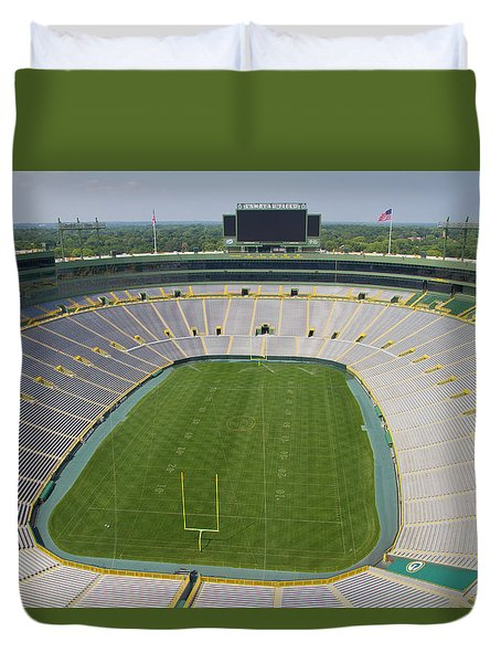 Duvet Cover featuring the photograph Inside Lambeau Field by Joel Witmeyer