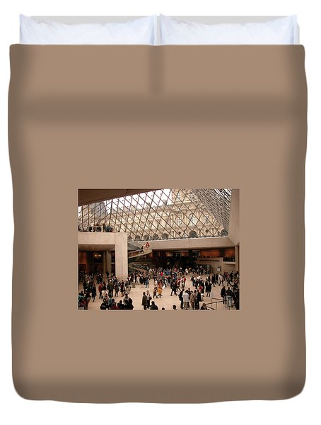 Duvet Cover featuring the photograph Inside Louvre Museum Pyramid by Mark Czerniec