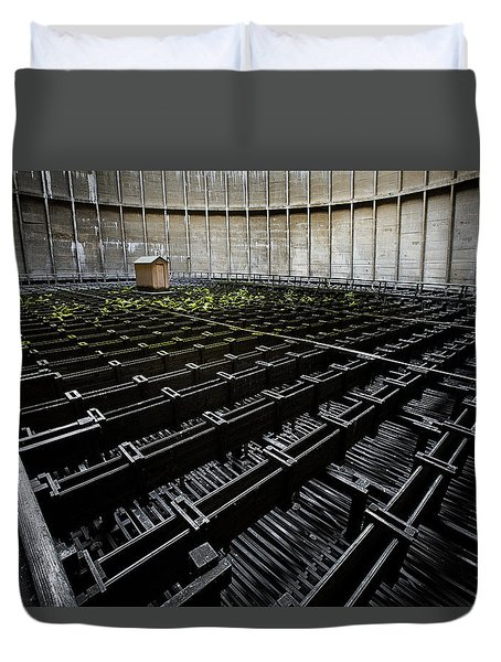 Duvet Cover featuring the photograph Inside Of Cooling Tower - Industrial Decay by Dirk Ercken