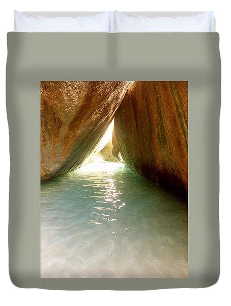 Inside The Baths On Virgin Gorda Duvet Cover