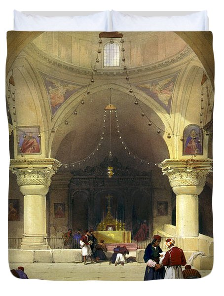 Inside The Church Of The Holy Sepulchre In Jerusalem Duvet Cover