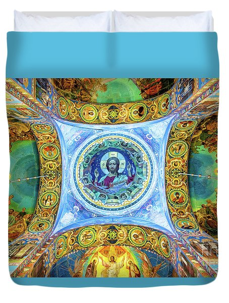Duvet Cover featuring the photograph Inside The Church Of The Savior On Spilled Blood by Delphimages Photo Creations