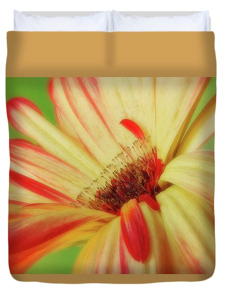 Duvet Cover featuring the photograph Inside The Daisy by Mary Jo Allen