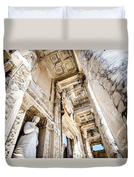 Inside The Ephesus Library  Duvet Cover