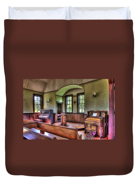 Inside The Oysterville Church  Duvet Cover