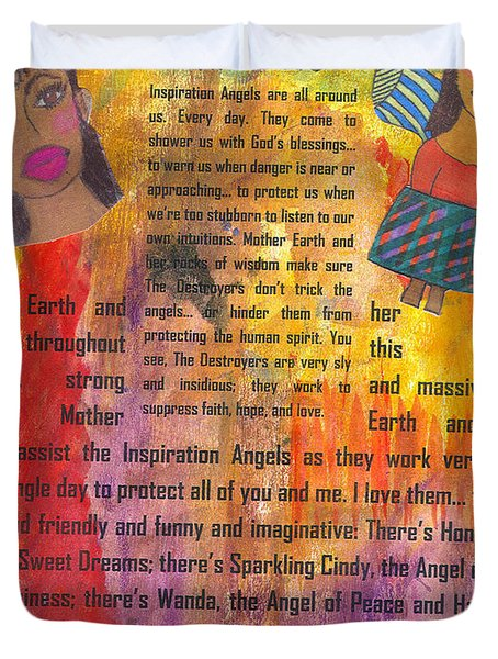 Duvet Cover featuring the mixed media Inspiration Angels II by Angela L Walker
