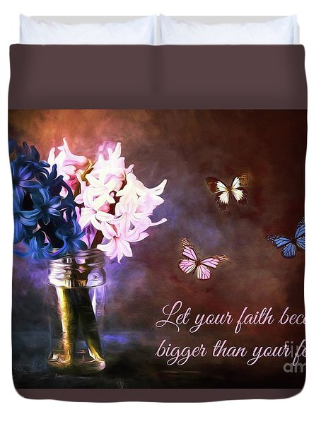 Inspirational Flower Art Duvet Cover by Tina LeCour