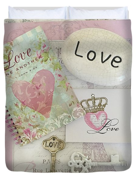 Inspirational Love One Another Shabby Chic Pink White Baby Nursery Room Decor - Romantic Love Decor Duvet Cover