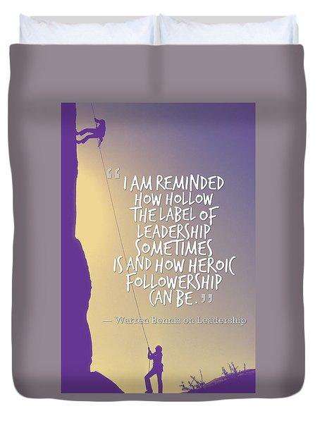 Inspirational Quotes - Motivational , Leadership - 31 Warren Bennis Duvet Cover