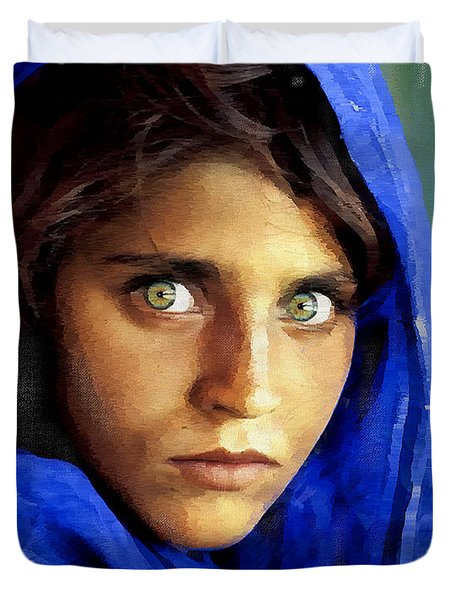 Inspired By Steve Mccurry's Afghan Girl Duvet Cover