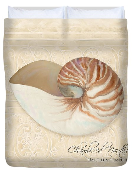 Inspired Coast Iv - Chambered Nautilus, Nautilus Pompilius Duvet Cover by Audrey Jeanne Roberts