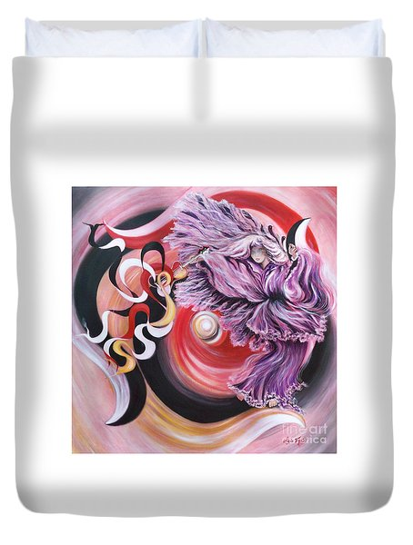 Duvet Cover featuring the painting Integrated Force by Sigrid Tune