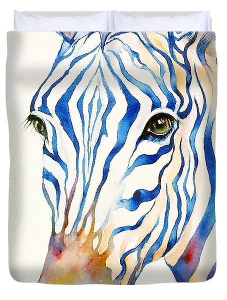 Intense Blue Zebra Duvet Cover