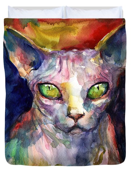 intense watercolor Sphinx cat painting Duvet Cover