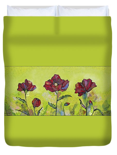 Intensity Of The Poppy I Duvet Cover by Shadia Derbyshire