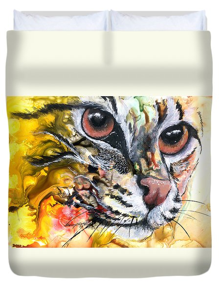 Duvet Cover featuring the painting Intensity by Sherry Shipley