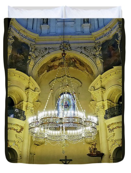Interior Evening View Of St. Nicholas Church In Prague Duvet Cover