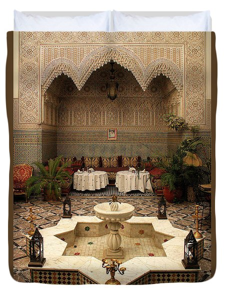Interior Of A Traditional Riad In Fez Duvet Cover