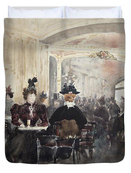 Interior Of The Concert Rouge Duvet Cover by Henri Laurent Mouren
