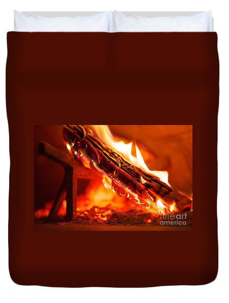 Interior Of Wood Fired Brick Oven With Burning Log Duvet Cover