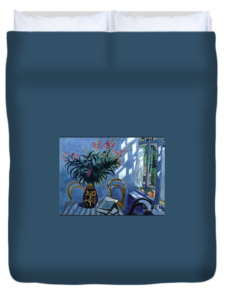 Interior With Flowers Duvet Cover
