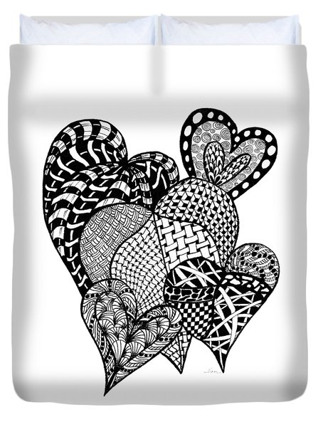 Interlocking Hearts Duvet Cover by Nan Wright