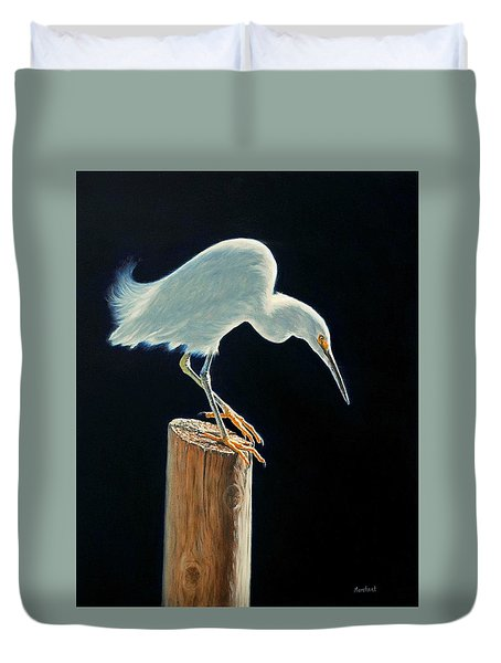 Interlude - Snowy Egret Duvet Cover