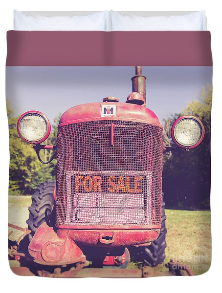 Duvet Cover featuring the photograph International Harvester Farmall Cub Vintage Tractor by Edward Fielding