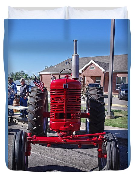 International Harvester Farmall Red Tractor Front Duvet Cover by Robyn Stacey