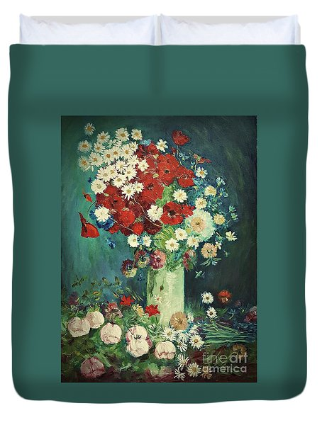 Interpretation Of Van Gogh Still Life With Meadow Flowers And Roses Duvet Cover
