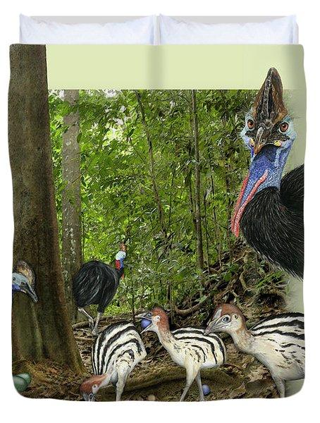 Zoo Nature Interpretation Panel Cassowaries Blue Quandong Duvet Cover
