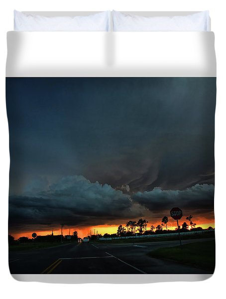 Duvet Cover featuring the photograph Intersection At Sunset by Toni Hopper