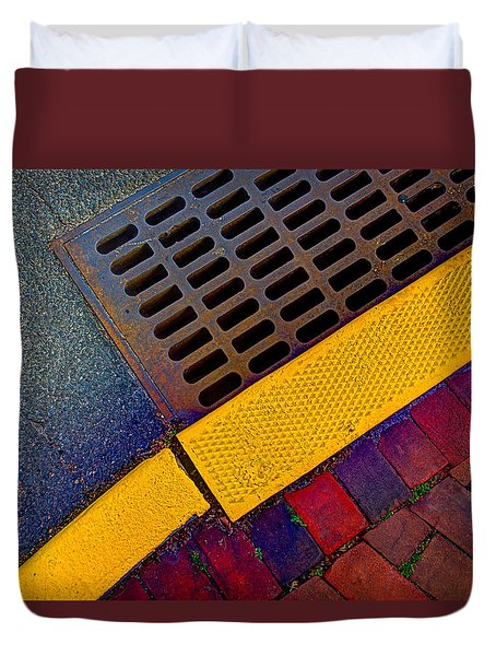 Duvet Cover featuring the photograph Intersection Of Shapes And Colors On The Street by Gary Slawsky