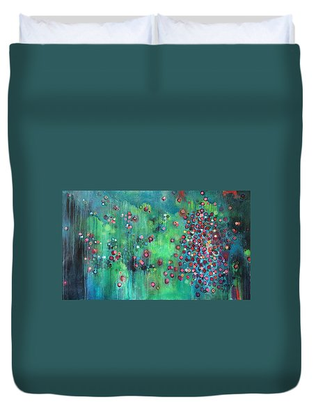 Duvet Cover featuring the painting Interstellar, I Want To Paint It Black by Laurie Maves ART
