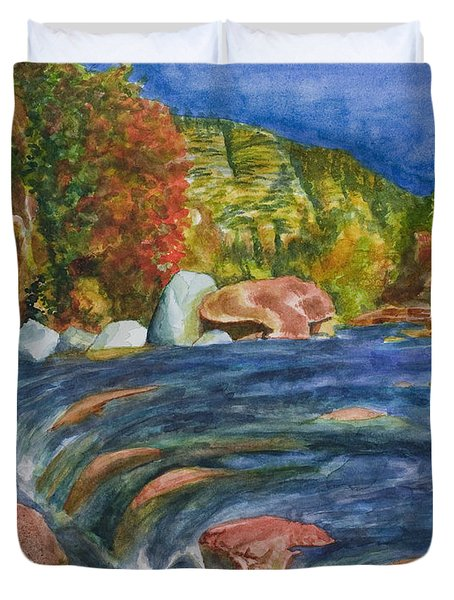Into Slide Rock Duvet Cover by Eric Samuelson