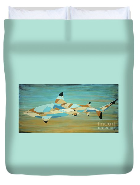 Into The Blue I Shark Painting Duvet Cover