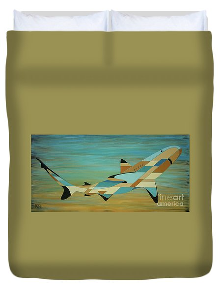 Into The Blue Shark Painting Duvet Cover