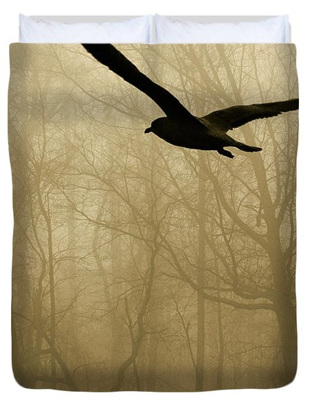 Duvet Cover featuring the photograph Into The Fog by Harry Spitz