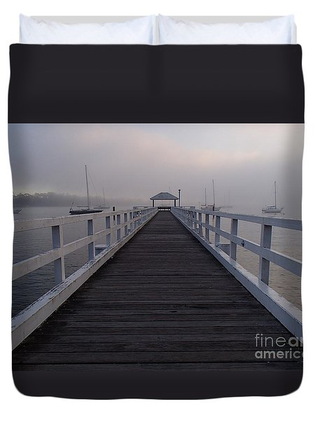 Duvet Cover featuring the photograph Into The Fog by Trena Mara