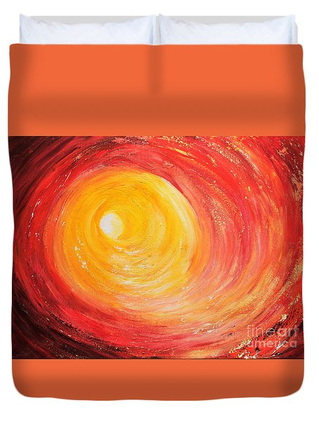 Duvet Cover featuring the painting Into The Light by Teresa Wegrzyn