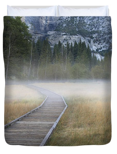 Duvet Cover featuring the photograph Into The Mist by Sandra Bronstein