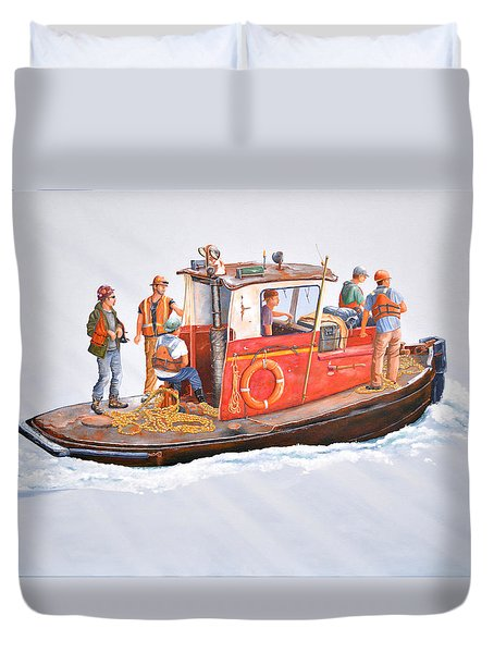 Duvet Cover featuring the painting Into The Mist-the Crew Boat by Gary Giacomelli