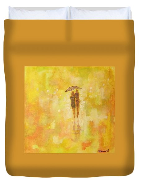 Duvet Cover featuring the painting Into The Sunset by Raymond Doward