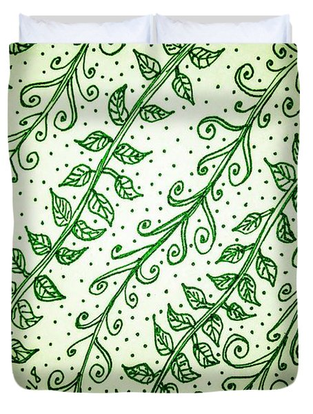 Into The Thick Of It, Green Duvet Cover