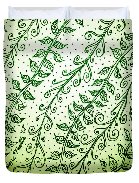 Duvet Cover featuring the drawing Into The Thick Of It, Green by Monique Faella