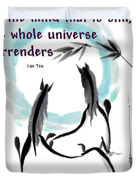 Duvet Cover featuring the painting Into The Vortex With Lao Tzu Quote I by Bill Searle